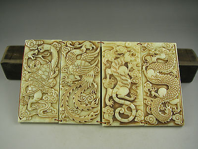 Antique Chinese Hand-carved jade STATUES dragon tiger snake phoenix 2502