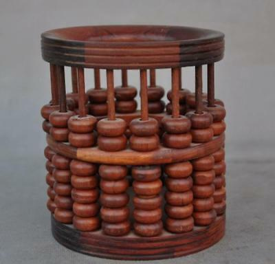 rare old chinese huanghuali wood Hand-carved abacus statue Brush Pot pencil vase