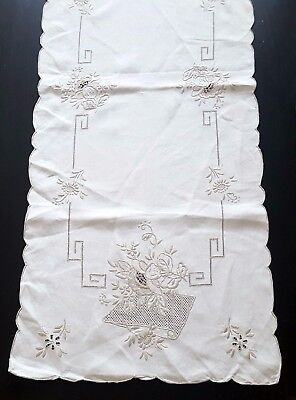 Antique Vintage TABLE RUNNER Ecru pure LINEN Embroidered Table Wedding Floral