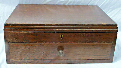 Antique Wooden Empty Cutlery Box Casket Lidded Compartment & Drawer