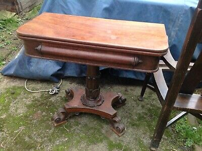 Early Victorian Card Table Breakfast Carved Scrolled Feet Antique Mahogany