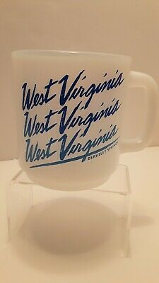 Vintage Milk Glass Coffee Cup Mug West Virginia Glasbake Berkeley Springs