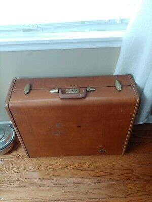 Vtg Samsonite Hard Side Men's Two-Suiter Suitcase Saddle Tan Luggage