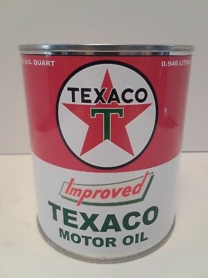 Texaco Improved Motor Oil Can 1 qt. -  ( Reproduction Tin Collectible )