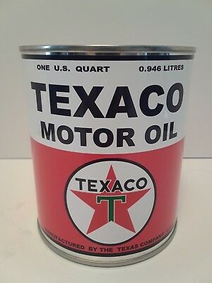 Vintage Texaco Motor Oil Can 1 qt. -  ( Reproduction Tin Collectible )