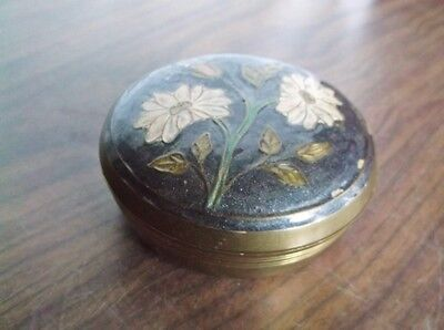 Vintage SOLID BRASS Bowl / Dish with Decorative Enameled Lid