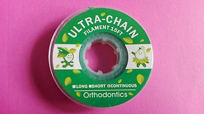 Dental Power Chains Orthodontics Spool Elastic Ultra Green Continuous 15 FT CE