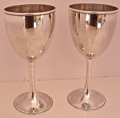 Pair Of Early Kalo Handwrought Arts Crafts Sterling Water Goblets June 1927