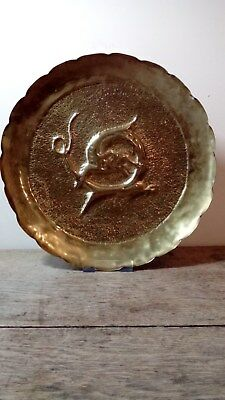 Beautiful Arts And Crafts Hammered Copper Tray Deep Repousse Detail Sea Creature