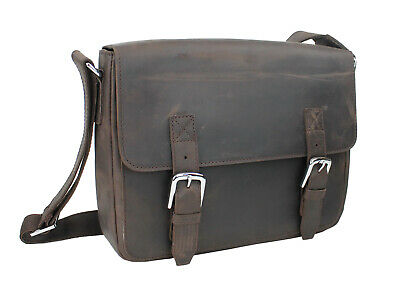 """Vagarant 15/"""" Cowhide Leather Casual Messenger Bag with Top Lift Handle L56.DB"""