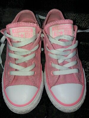 Girls Pink sparkly Converse All Stars size UK 12