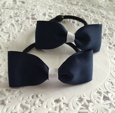 2 Packs Of Navy And white hair bow bobbles/hair Accesories/girls/School Uniform