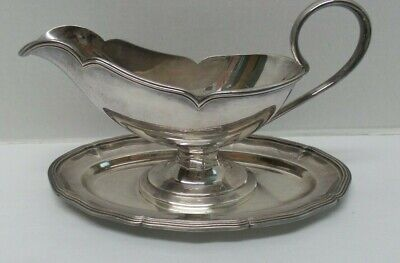 Vintage WMF Germany Silverplate Gravy Sauce Boat Attached Underplate