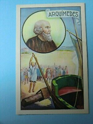 Old Spanish  Sticker  Card  1920´ Famous   Arquimides