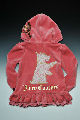 Brand New Juicy Couture girls lace dog ruffle hooded velour hoodie top SIZE 8