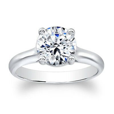 2.00 Ct Round Cut Solitaire Diamond Engagement Ring 14K White Gold Size 5 6 0306