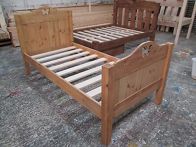 Handmade Solid Pine Bed Frame (Heart / Moon / Star / Butterfly & Low Toe option)