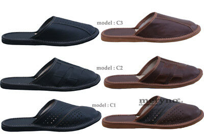 Mens Leather Slippers Shoes, Sandals, Slip On, Black Brown Size 7 8 9 10 11