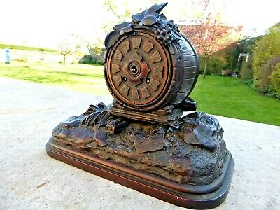 RARE ANTIQUE BLACK-FOREST CARVED MANTEL CLOCK .....not cuckoo
