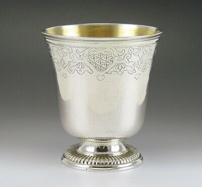 Rare Antique c1730 18th Century French Strasbourg Silver Cup Beaker Goblet