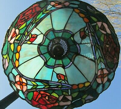 Tiffany Style Leaded Glass Ceiling Shade - Blue Marble with Red Roses & Flowers
