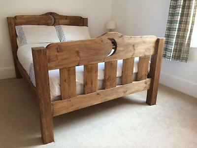 Handmade Rustic Chunky Solid Pine Bed Frame with Toe - Heart Moon Star Butterfly