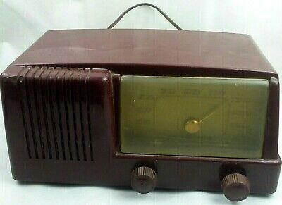 Vintage Art Deco Maroon 1950 GE Musaphonic Model 411 Tabletop 5-Tube Radio Parts