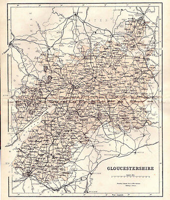 A map of County Gloucestershire, original dated 1860.