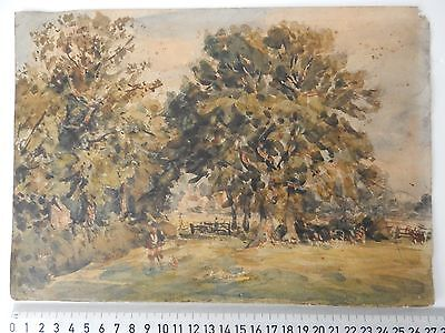 Late (19Th/Early (20Th Rural Scene Watercolour Sketch Man Dog Animals Unsigned