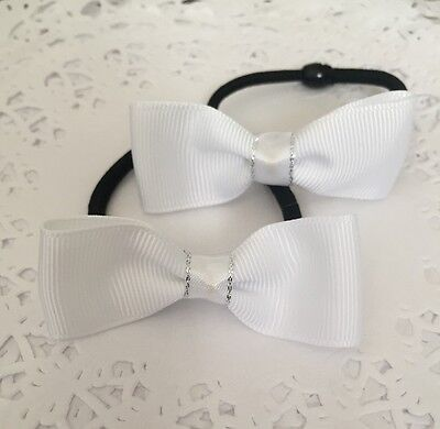 2 Packs Of School Uniform White hair bow bobbles/hair Accesories/girls