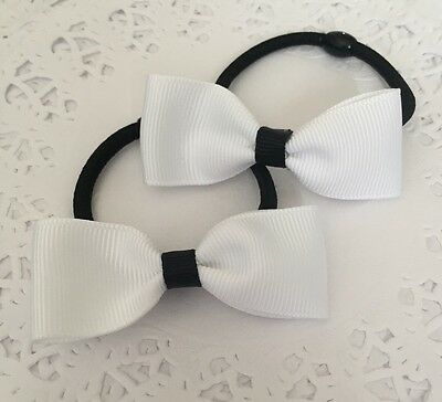2 Packs Of White hair bow bobbles/hair Accesories/girls/School Uniform