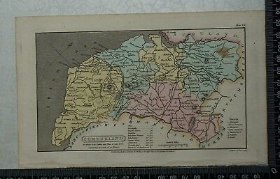 1808 Antique Original Hand Coloured Capper Map of Cumberland