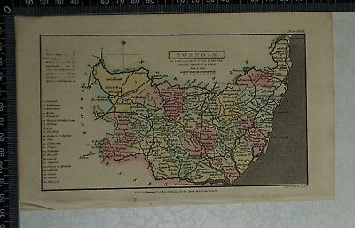 1808 Antique Original Hand Coloured Capper Map of Suffolk