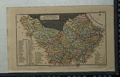 1808 Antique Original Hand Coloured Capper Map of Somerset