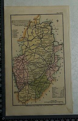 1808 Antique Original Hand Coloured Capper Map of Nottinghamshire