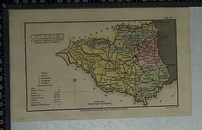1808 Antique Original Hand Coloured Capper Map of Durham County