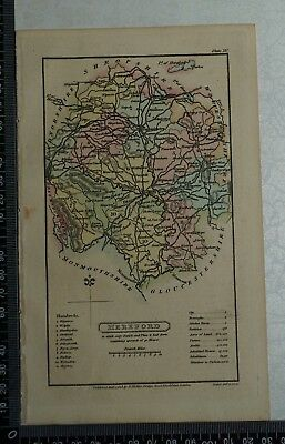 1808 Antique Original Hand Coloured Capper Map of the County of Hereford