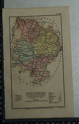 1808 Antique Original Hand Coloured Capper Map of the County of Huntingdon