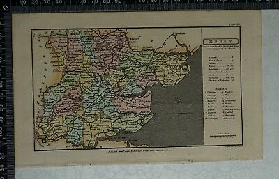 1808 Antique Original Hand Coloured Capper Map of Essex