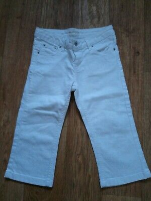Girls Age 12 (152) White Stretchy Cropped Jeans... Free Postage!!