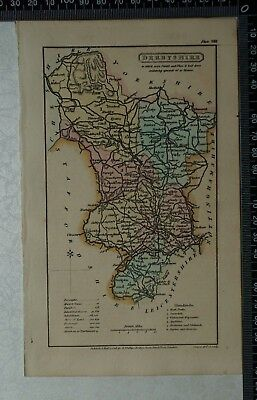 1808 Antique Original Hand Coloured Capper Map of Derbyshire