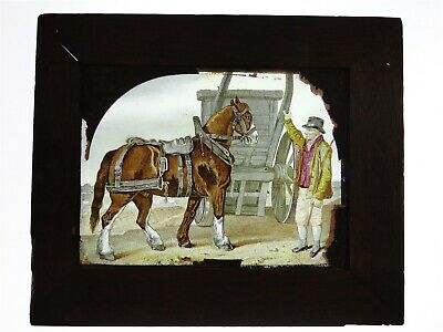 2 Early c19th Hand Finished Large Glass Lantern Slides - Horses In Oak Frames