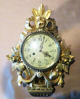 Swedish Gold Leaf Hand Cared Wood Carved Clock Westerstrand Era
