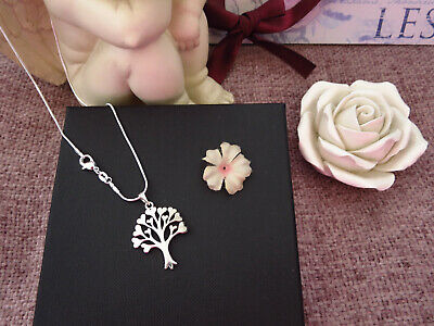 "Large Tree Of Life Pendant Necklace 925 Stamped 16"" Snake Chain *Free Bag * Uk"
