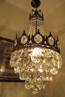 Antique Vintage French Basket style Crystal Chandelier Light LAMP 1940's 13 in..