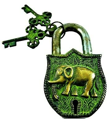 Elephant Shape Antique Vintage Style Handmade Brass Padlock & Keys Home Decor