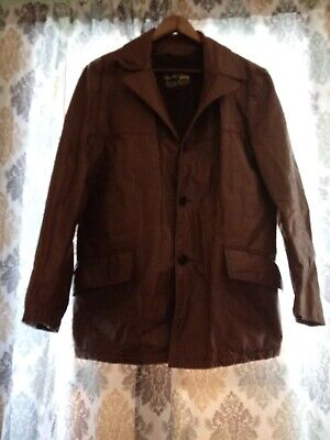 Classic 1970's Vintage Style Brown Leather Jacket Size 40
