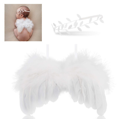 Hifot Newborn Baby Photography Prop Outfits, Feather Angel Wings with Headband