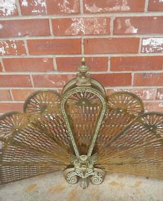 Antique Brass Fireplace Screen Peacock Folding Fan 38x26
