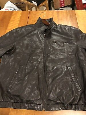 08fa6579fd90a HUNT CLUB L(44R) Men's Distressed VINTAGE Brown Bomber Leather ...